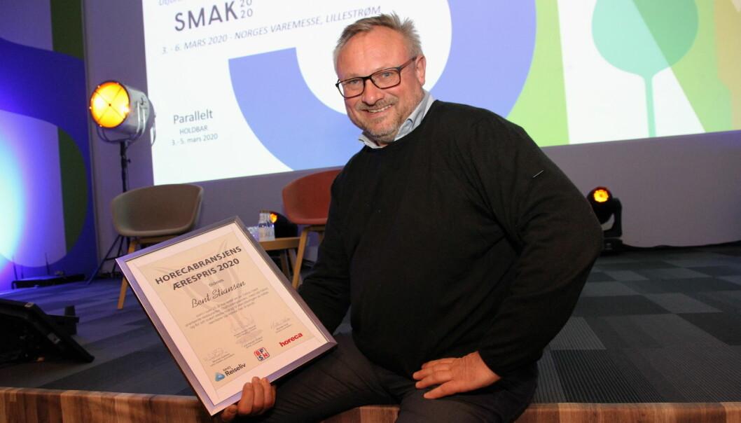 Bent Stiansen er tildelt Horecabransjens Ærespris 2020. (Foto: Morten Holt)