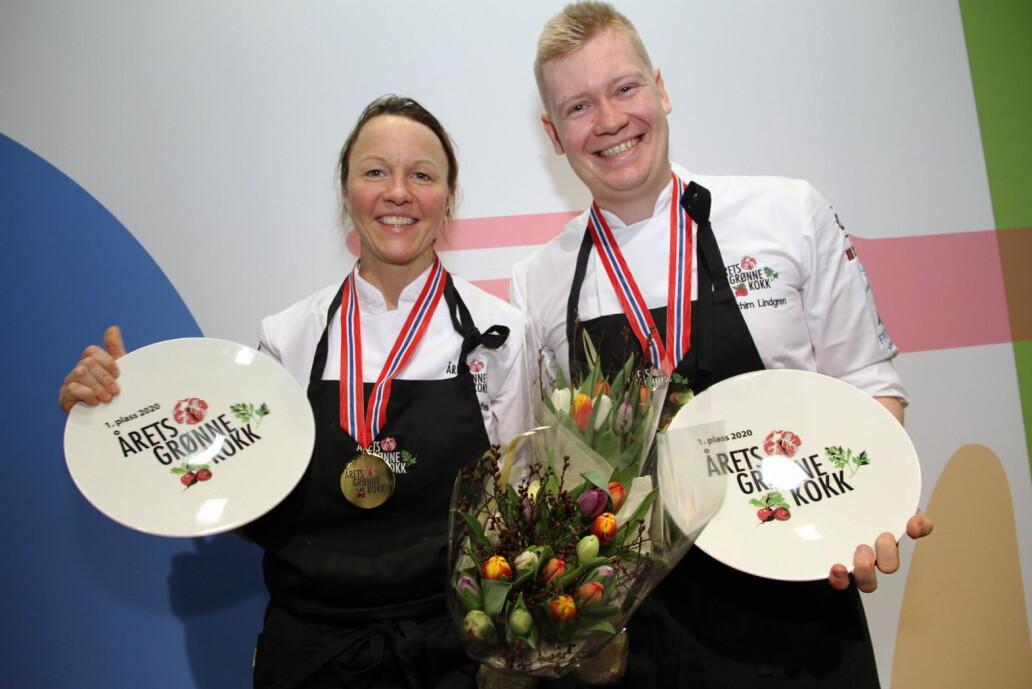 Nina Kristoffersen og Joachim Lindgren fra Statholdergaarden vant Årets grønne kokk 2020. Duoen vant også i 2017. (Foto: Morten Holt)
