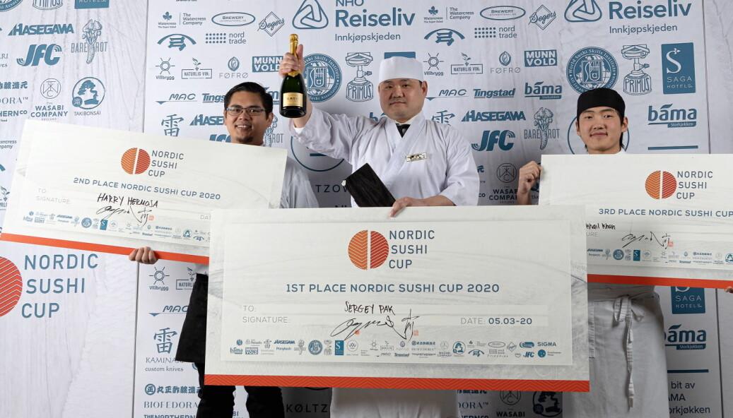 Sergey Pak vant Nordic Sushi Cup foran Harry Hermosa og Mikhail Khan. (Foto: Haakon Hoseth)