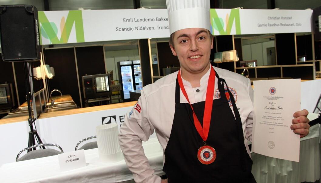 Emil Lundemo Bakken fra Scandic Nidelven vant Jeunes Chefs Rôtisseurs 2020 på Smak. (Foto: Morten Holt)
