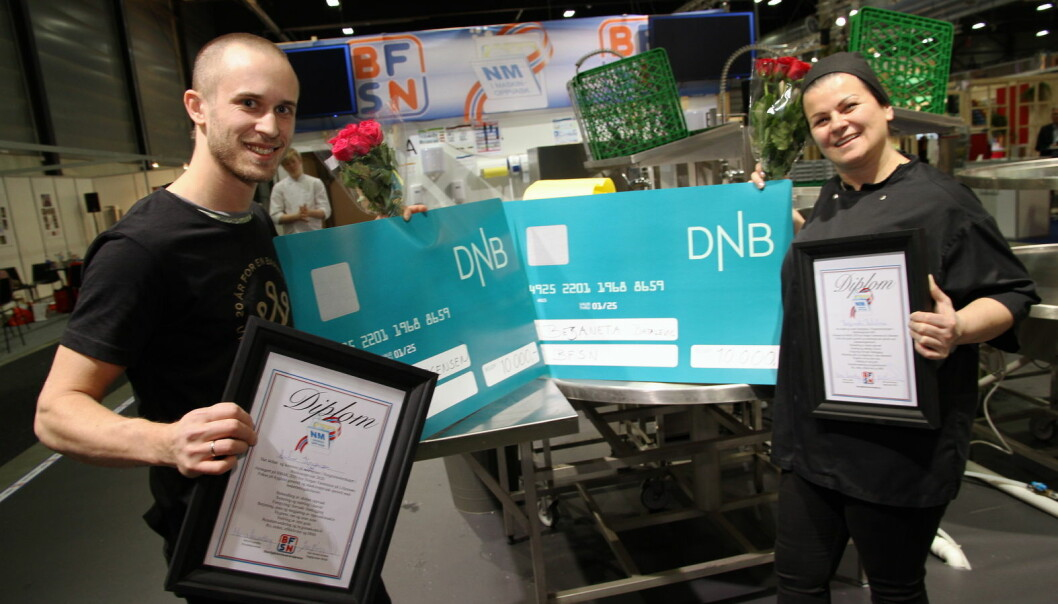 André Jørgensen fra Stine Sofie-senteret og Bezaneta Batalevic fra Nortura delte seieren i NM i maskinoppvask 2020. (Foto: Morten Holt)