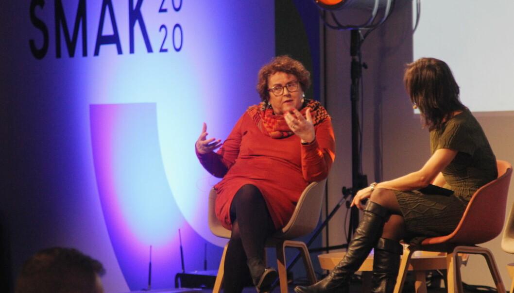 Landbruks- og matminister Olaug Bollestad gjestet åpningskonferansen for Smak 2020. Her i samtale med konferansier Siri- Lill Mannes. Foto: Morten Holt)