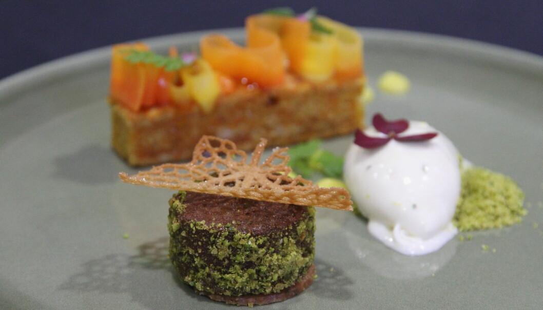 Desserten til Bjerck restaurant i Årets grønne kokk. (Foto: Morten Holt)