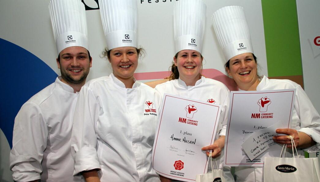 Coor vant NM Community Catering 2020. Fra venstre Sindre Leikvoll Arnesen, Petra Roth-Høines, Hanne Nilsen og Petra Holka. (Foto: Morten Holt)