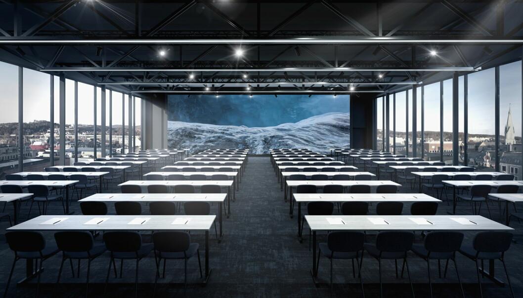 Konferansesalen i toppetasjen av Thon Hotel Norge har utsikt over hele byen. (Foto: Thon Hotels)