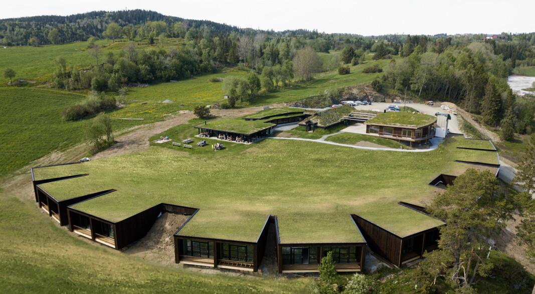 Øyna Kulturlandskapshotell har panoramautsikt over Inderøy og sorøver Trondheimsfjorden. De 18 rommene er bygd inn i bakken og gir deg følelsen av å sveve. (Foto: Øyna)