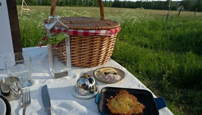 Den svenske versjonen av røsti med crème fraîche og kaviar – råraka – er temmelig fast forrett. (Foto: Georg Mathisen)