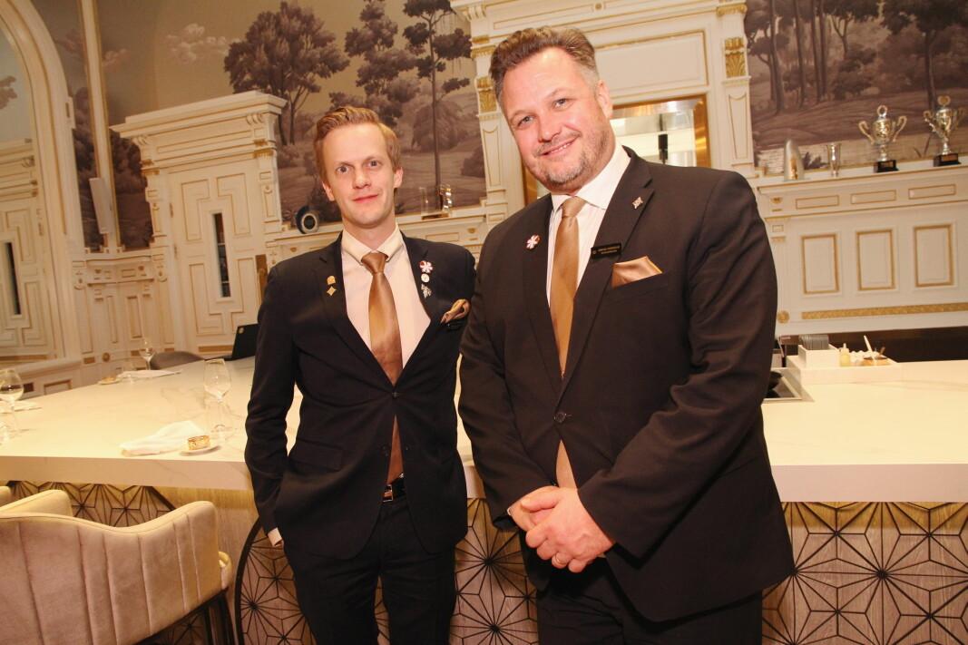 Hovedsommelier i Speilsalen, Henrik Dahl Jahnsen og hotelldirektør på Britannia Hotel, Mikael Forselius. (Foto: Morten Holt)