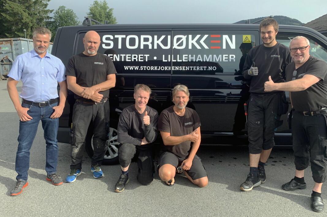 Lillehammer Storkjøkkensenter: Fra venstre Stian Lier, Jørn Strøm, André Solbakken,Knut Leerbeck, Magnus Storsletten og Ole Tom Lyseng. (Foto: Brede Hemma)