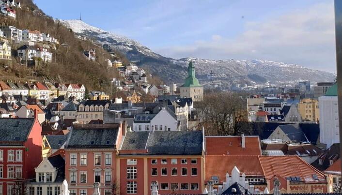 Utsikten fra hotellet i Bergen.