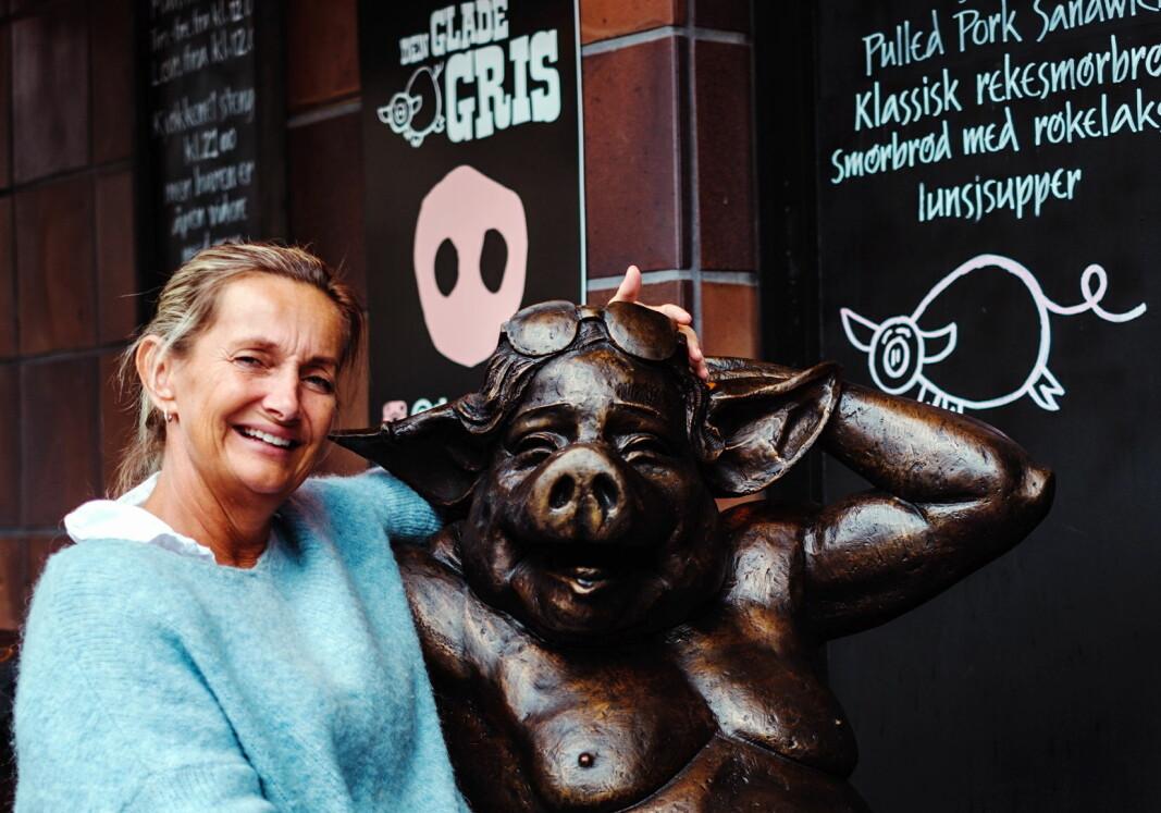 Jeg er kjempefornøyd med resultatet, sier selveste sjefspurka på Den Glade Gris, Kjellaug Hegbom, som har drevet restauranten i åtte år.(Foto: Den Glade Gris)
