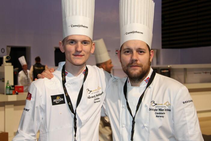 Håvard Werkland og Christopher W. Davidsen er sentrale kokker i Speilsalen i Trondheim. (Foto: Morten Holt)