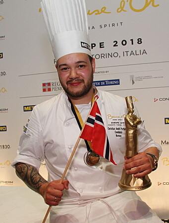 Christian A. Pettersen har tidligere gull fra Bocuse d'Or Europe 2019 (bildet) og bronse fra Bocuse d'Or 2019. (Foto: Morten Holt)