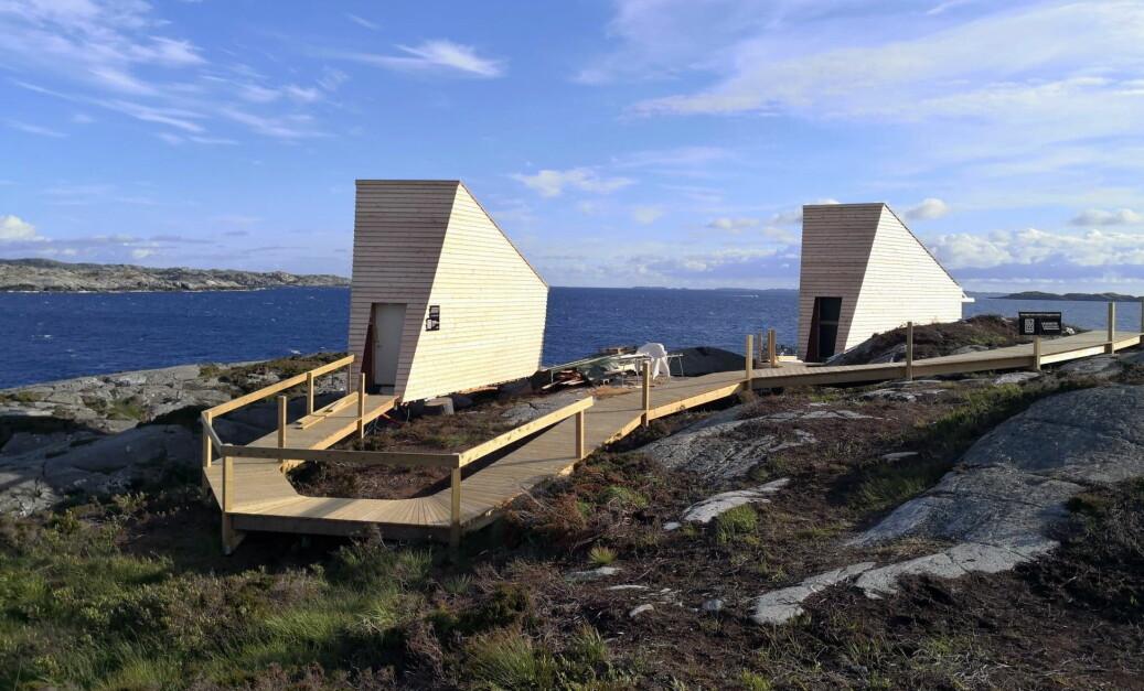 To av de fem nye Flokehyttene ved Ryvarden fyr. (Foto: Holon Arkitektur)