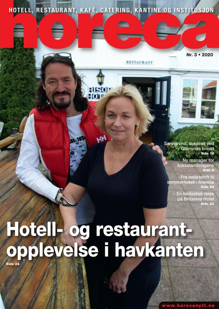 Forsiden på Horeca nummer 3 2020. (Foto: Morten Holt/layout: Tove Sissel Larsgård)
