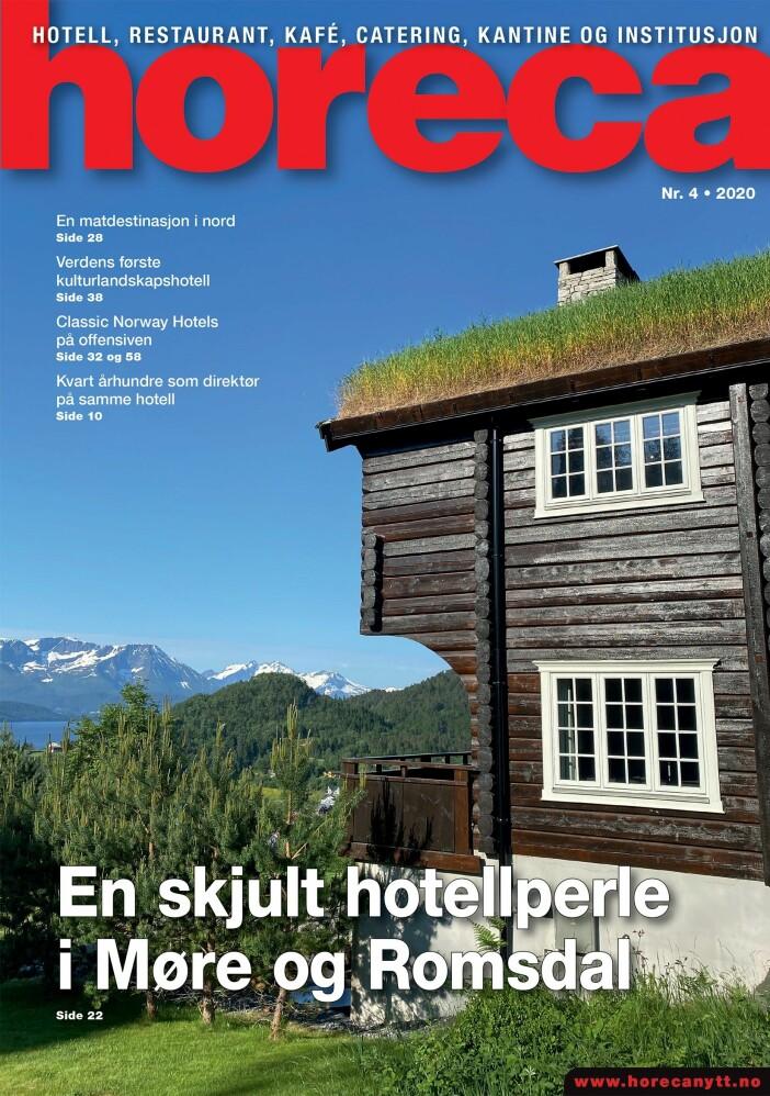 Forsiden på Horeca nummer 4 2020. (Foto: Morten Holt/layout: Tove Sissel Larsgård)