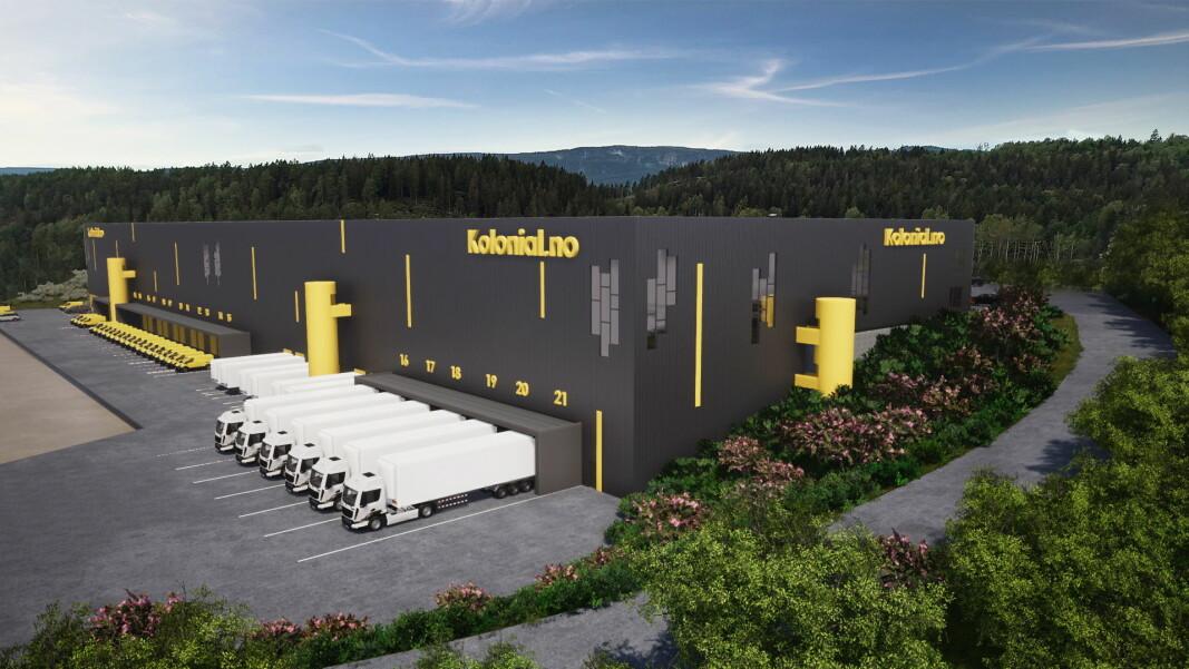Kolonial.no har opplevd et enormt oppsving under koronakrisen, og satser nå stort med nytt bygg i Lier. (Illustrasjon: Eneo)