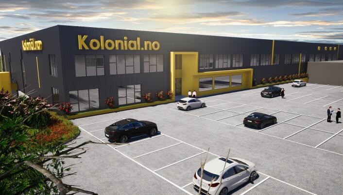 Slik blir Kolonial-nos nye bygg på Lier. (Illustrasjon: Eneo)