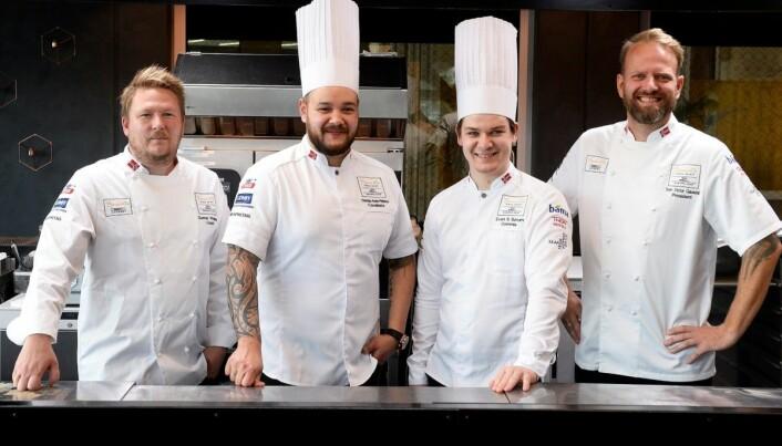 Det norske teamet i Bocuse d'Or Europe 2020. (Foto: Jonas Haarr Friestad/Norsk Gastronomi)