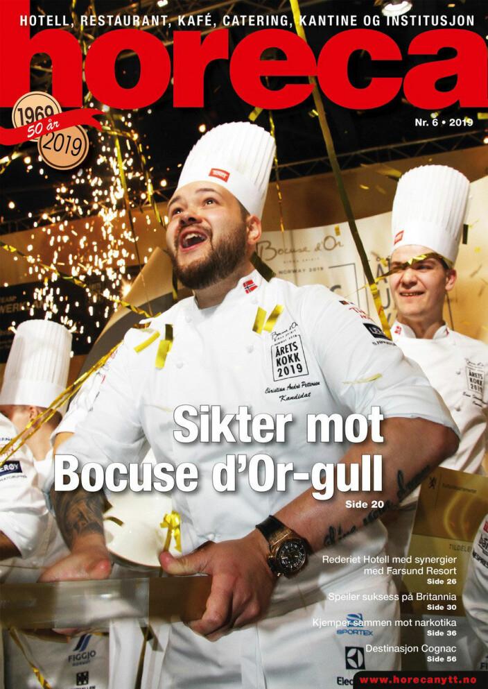 Forsiden på den sjette Horeca-utgaven i 2019. (Foto: Heidi Fjelland/layout: Tove Sissel Larsgård)