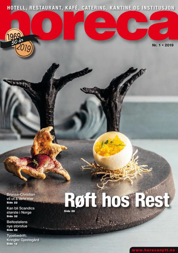 Forsiden på den første utgaven av Horeca i 2019. (Foto: Restaurant Rest/layout: Tove Sissel Larsgård)