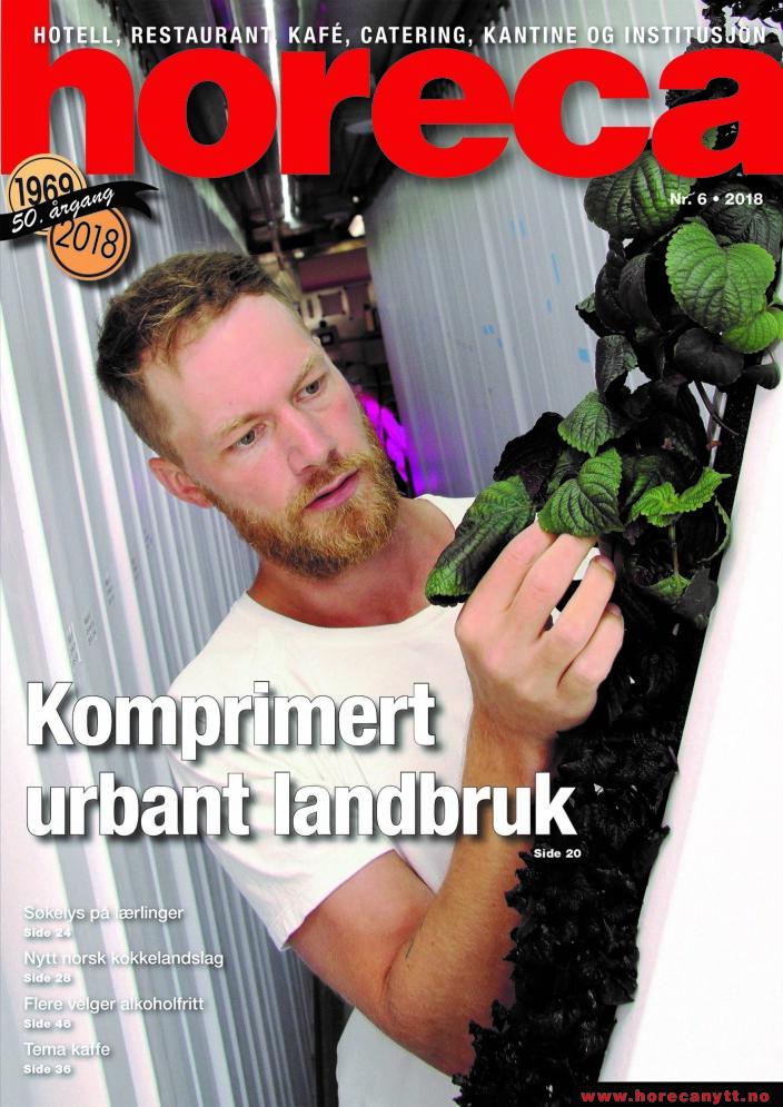 Forsiden på den sjette utgaven av magasinet Horeca i 2018. (Foto: Morten Holt/layout: Tove Sissel Larsgård)