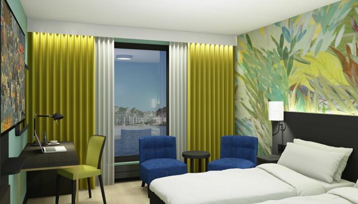 Foreløpig skisse av et nytt rom på Thon Hotel Ålesund. (Illustrasjon: Ramsøskar interiørarkitekter)