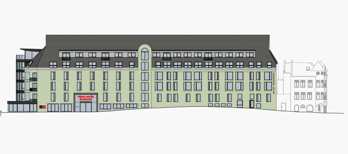 Illustrasjon av ny fasade. Arkitekt: Kibsgaard-Petersen AS