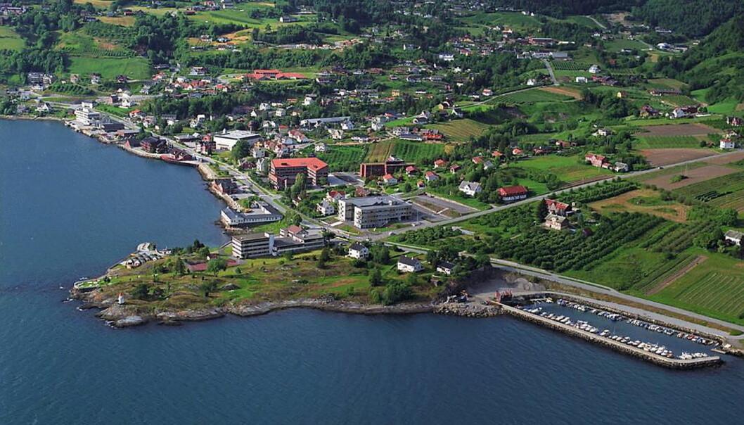 Sognefjord Hotel, med tomten på halvøya til venstre i bildet, er til salgs. I bakgrunnen sentrum av Hermannsverk. (Foto: Sognefjord Hotel)