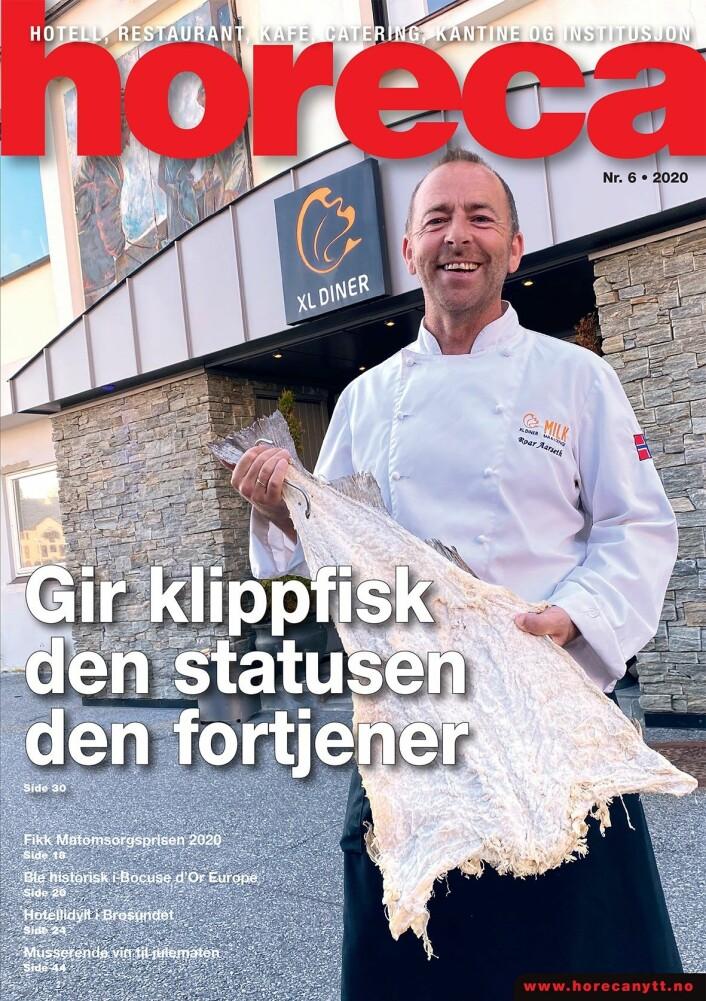 Forsiden på den sjette utgaven av Horeca i 2020, som har utgivelse i månedsskiftet novemver/desember. (Foto: Morten Holt/layout: Tove Sissel Larsgård)