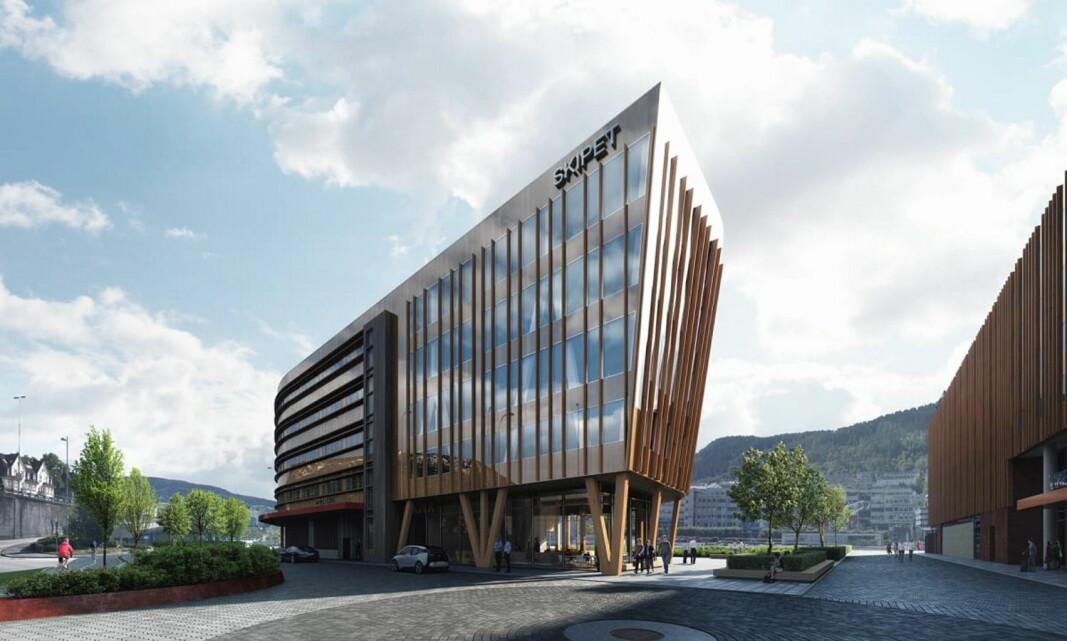 Compass Group skal drifte personalrestaurant, resepsjon og kaffebar i Bergens første næringsbygg i massivtre, «Skipet». (Foto: MIR)