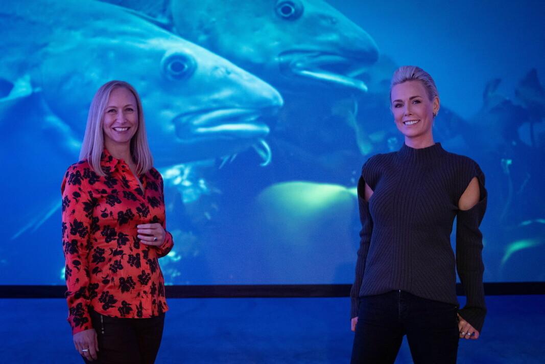 Administrerende direktør i Norges sjømatråd, Renate Larsen (til venstre), og EATs grunnlegger og arbeidende styreleder Gunhild Stordalen. (Foto: Norges sjømatråd)