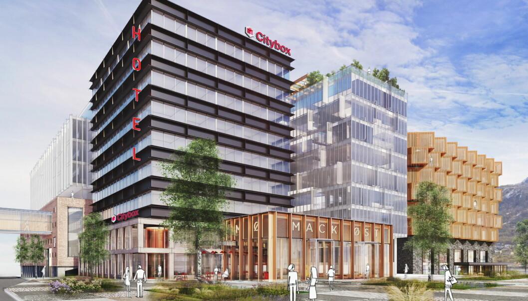 Selskapene Eiendomsspar og Mack vil bygge nytt hotell i Mack-kvartalet i Tromsø. Hotellet får navnet Citybox Tromsø. (Illustrasjon: Citybox Tromsø)