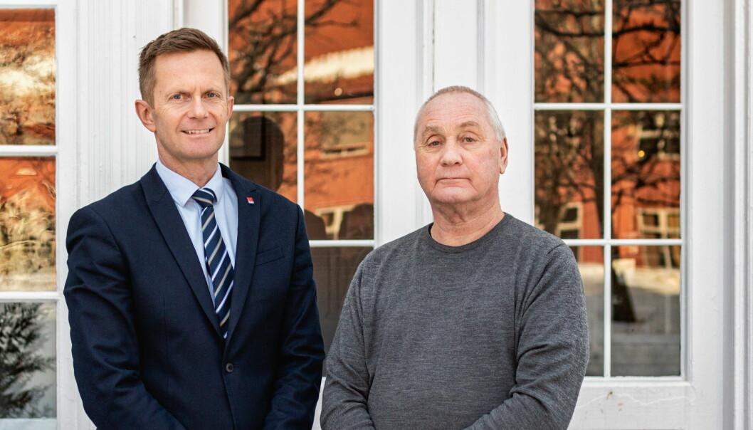 Gründeren bak Classic Norway Hotels Erik Berg (til høyre), sammen med administrerende direktør Stephen Meinich-Bache. (Foto: Classic Norway Hotels/Christer Olsen - Christerolsenphoto)