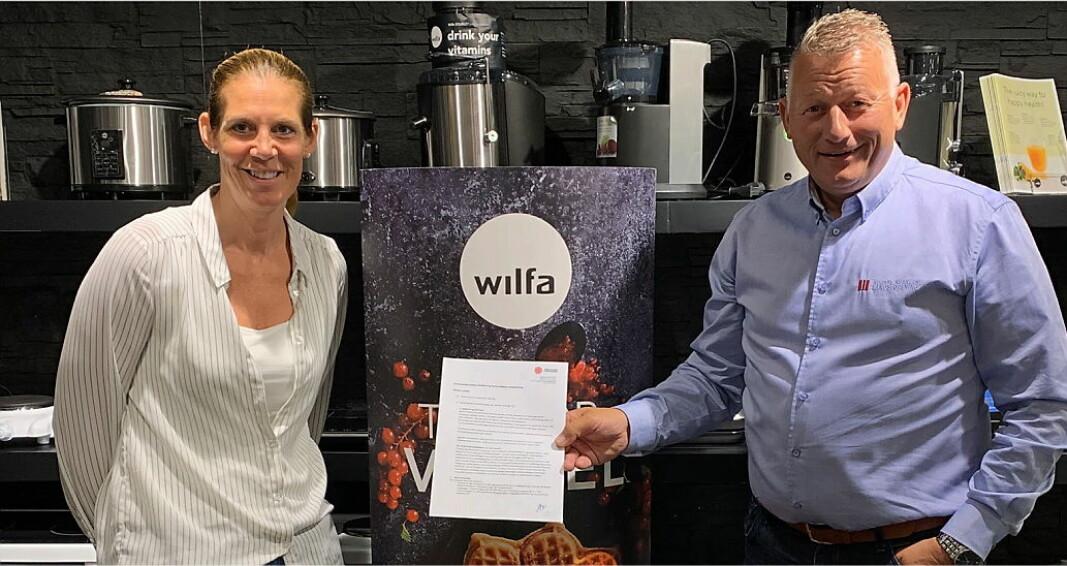 Guri Brennhovd i Wilfa Norge (til venstre) og Espen Wasenius i NKL. (Foto: Wilfa)