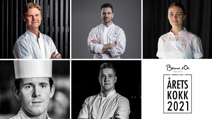 Dette er deltakerne i Årets kokk 2021 (Foto: Fredrik Ringe, Tom Haga, Stian Broch, Henriette Heimdal, Wl Lee-Wright)