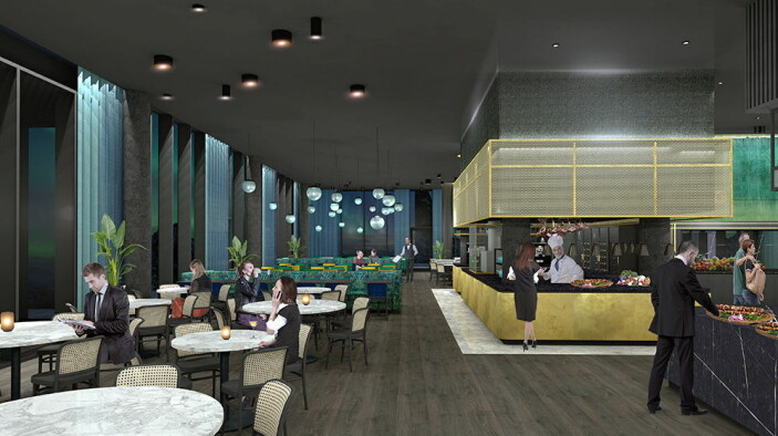 Restauranten vil få flere konsepter og det kommer uteservering om sommeren. (Foto/Illustrasjon: Thon Hotels)