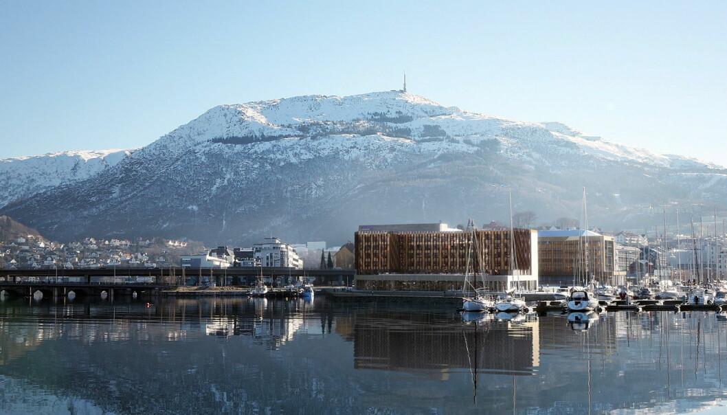 Åpningen av Moxy Bergen er utsatt til begynnelsen av mai. (Foto: Moxy Bergen)