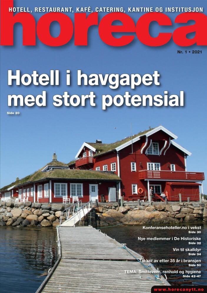 Forsiden på den første utgaven av Horeca i 2021. (Foto: Morten Holt/layout: Tove Sissel Larsgård)