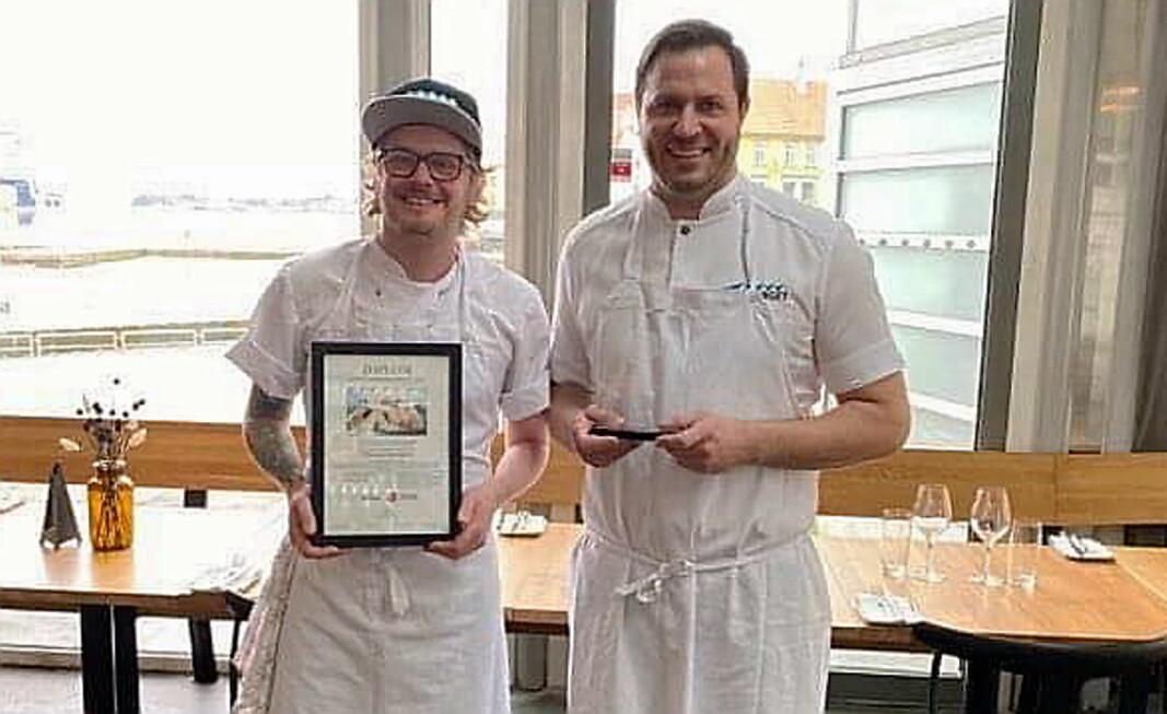 Matfaglig ansvarlig Karl Erik Pallesen (til venstre) og daglig leder Lars-Erik Kristiansen. (Foto: NKL/Fisketorget)