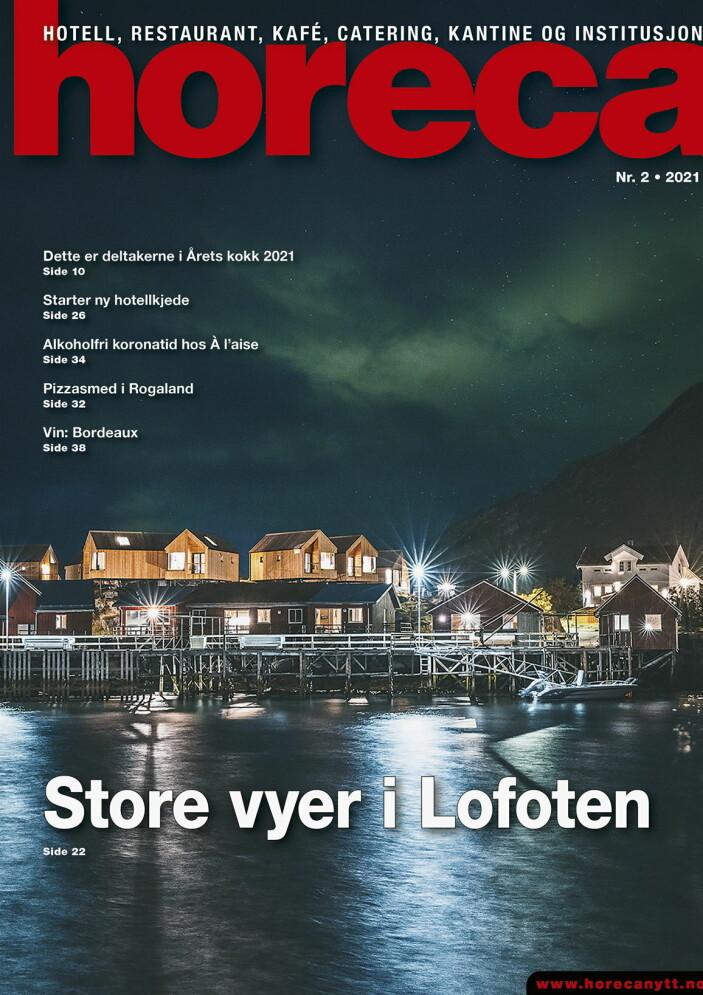 Forsiden på Horecas andre utgave i 2021. (Foto: Hattvika Lodge/Robert Novak. Layout: Tove Sissel Larsgård/Kari-Anne Ruud)