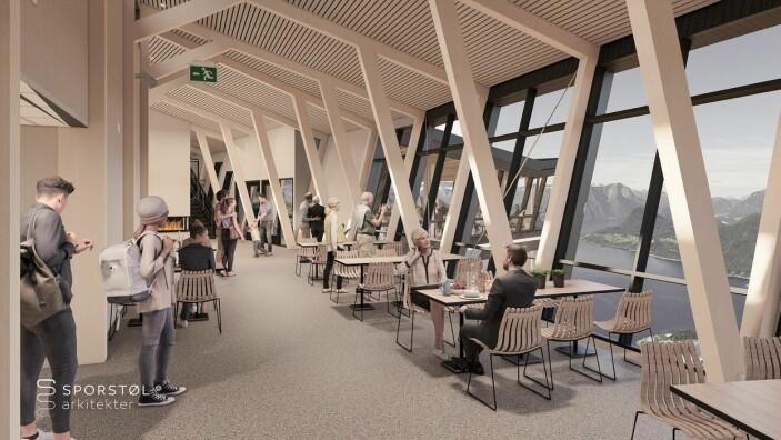 Slik blir restauranten på toppen. (Illustrasjon: Romsdalsgondolen/Sporstøl arkitekter(