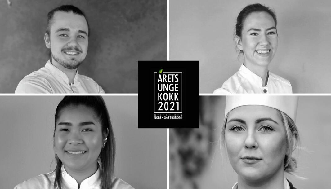 De fire kandidatene som er plukket ut til finalen av Årets unge kokk 2021. (Foto: Eirik Thomsen, Celine Ekholt, K.Andreassen og Geir Mogen)
