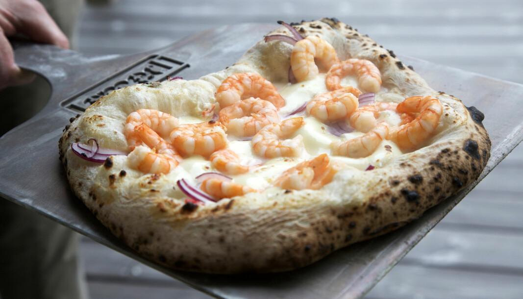 Pizza med scampi har blitt en favoritt – og så tar det seg så godt ut her på Sirevåg, plassen for havets delikatesser ifølge Svein. Westlund Karlsen. (Foto: Lise Bjelland)