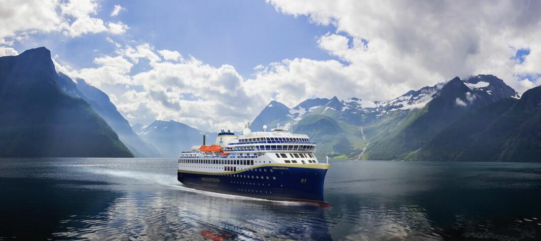 Havila Kystruten har avtale med Samferdselsdepartementet om fire av de elleve seilingene på kystreisen mellom Bergen og Kirkenes. (Illustrasjon: Havila Kystruten)
