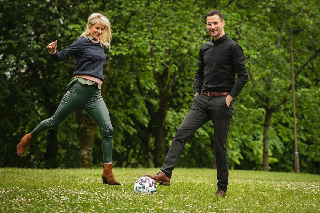 Cathrine Larsåsen og Espen Lindberg Berntsen er ansatt hos Just Eat. (Foto: Katrine Lunke)
