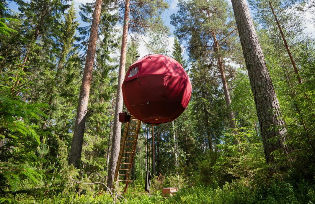 Den svevende boblen ved navn Supermåne i Dalarna. (Foto: Ingeborg Lindseth)