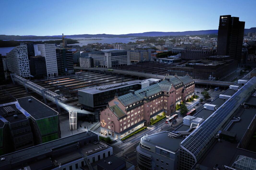 Tollgaarden ligger noen få minutters gange fra Oslo S og tett på gangbruen over til Barcode. (Foto: 3D Estate)