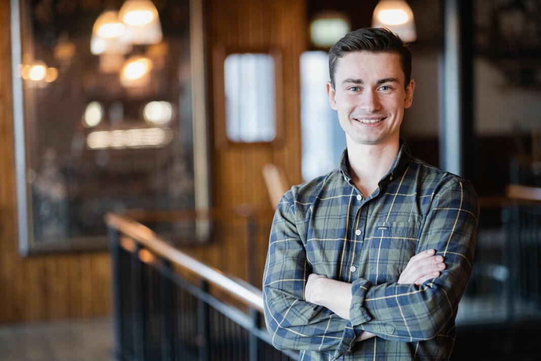 Daglig leder Eirik Tomter skal samarbeide med Wolt på distribusjon av lokalt øl i Trondheim. (Foto: Fredrik Alm).