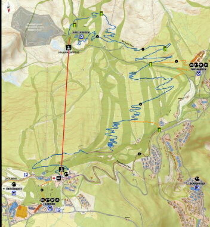 Kart over flytstien i Hemsedal. (Illustrasjon: Destinasjon Hemsedal)